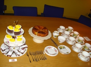 Corporate meeting with tea and cake