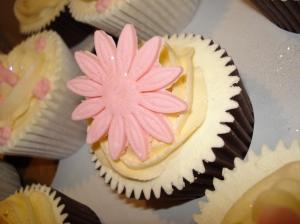 Pink gerbera & ivory icing