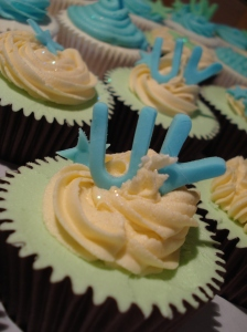 Blue U V cupcake