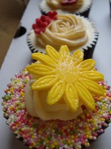 Yellow gerbera and sprinkles