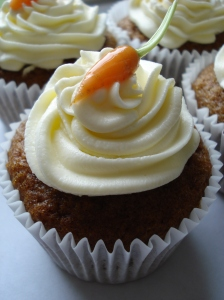 Carrot Cupcake with baby carrot decoration