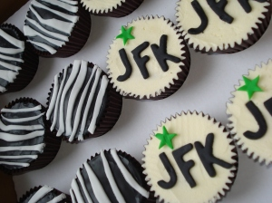 Chocolate cupcakes with zebra and JFK decoration