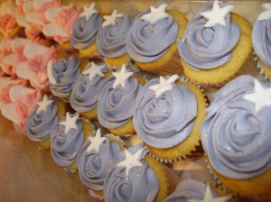 Purple rose swirls with white stars mini cupcakes