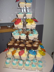 A tower of wedding cupcakes