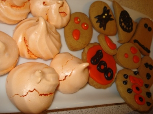 Meringes and scary cookies
