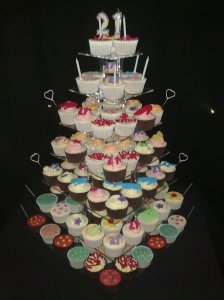 What a tower of cupcakes!