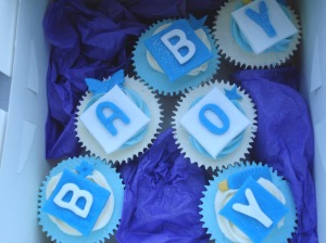 New baby boy cupcakes
