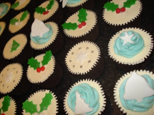 Bells, trees, holly, snowflake cupcakes