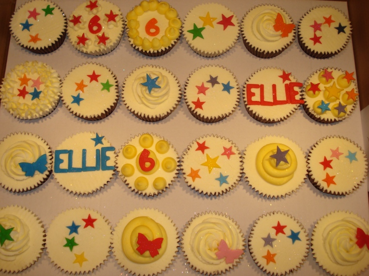 Brightly coloured cupcakes