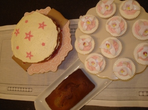 Coconut Sponge, Orchid flower cupcakes and banana loaf