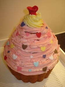 My giant cupcake with icing and decorations