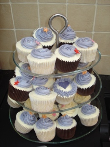 Indigo Silk, lilac and ivory cupcakes