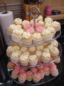 Mini pink and ivory cupcakes