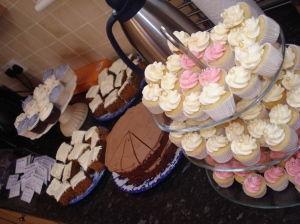 Carrot cake, chocolate cake and cupcakes
