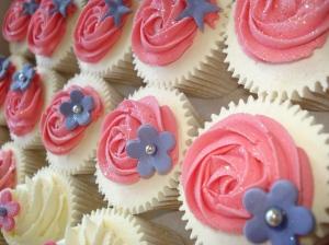 Pink rose swirls and purple flower