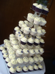 Purple and silver wedding cupcakes