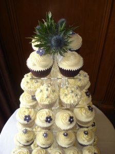 Tower of thistle themed cupcakes
