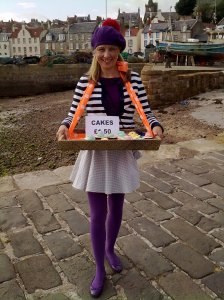 Dressed up walking the streets of Pittenweem selling cupcakies!
