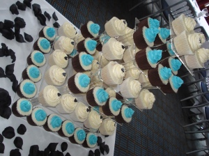 Tower of wedding cupcakes