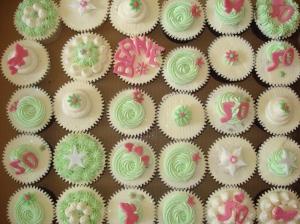 Big box of 50th birthday cupcakes