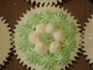 Green and white fluffy cakes