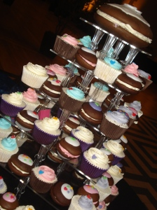 Cupcakes and whoopie tiered cake stand