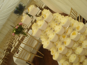 Scottish Wedding Cupcake tower with gold theme and thistle topper