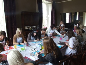Hen Party doing cupcake decorating
