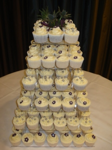 Scottish Cupcakes with navy flowers and silver balls