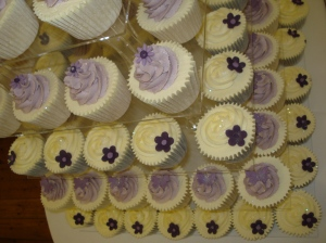 Purple and lilac cupcakes in chocolate and vanilla flavours