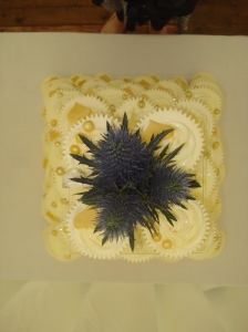 Scottish Thistle topper for golden cupcake tower