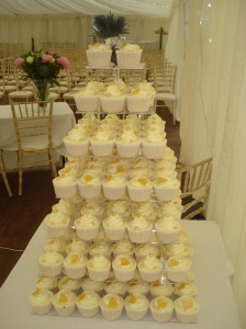 Gold themed cupcakes for Wedding in The Borders