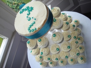 Teal themed Wedding Cake and Cupcake Tower