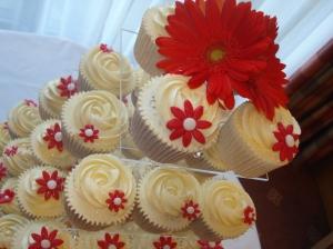 Red Gerbera Cupcakes