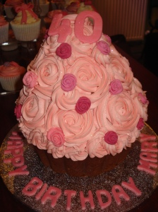 Rose themed giant cupcake