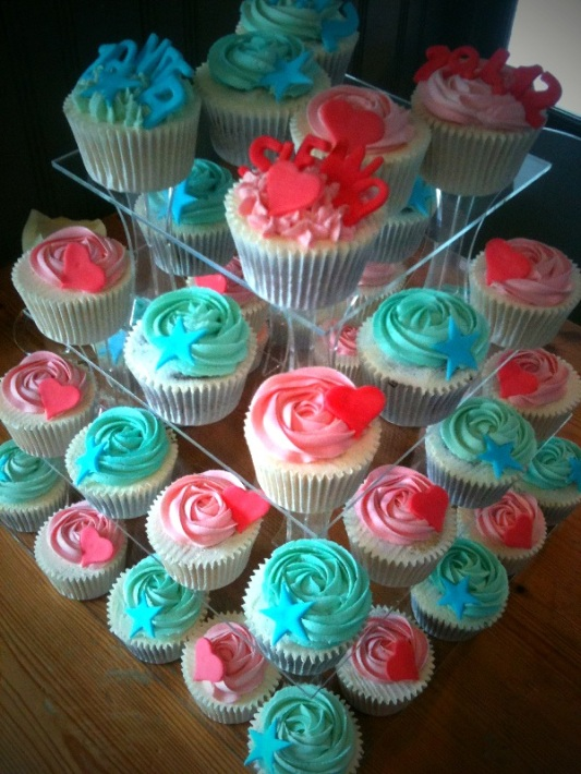 Baby pink and Baby blue Christening Cupcakes in Edinburgh