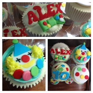 ... tower of clown cupcakes for a 10 year old birthday boy, in Edinburgh x
