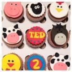 Farm Animal Cupcakes by Lizzie